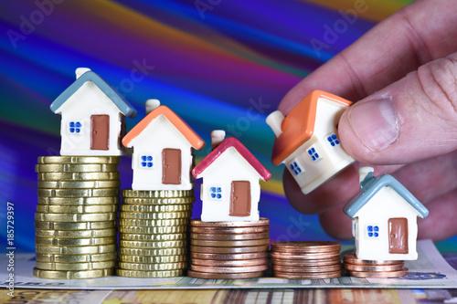 Fotografie, Obraz  argent euro hypothecaire credit banque