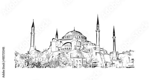 Cuadros en Lienzo Hand drawn sketch of Hagia Sophia Istanbul, Turkey in vector illustration