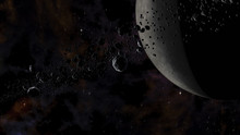 Rocks And Ice Particles Orbiting Around Dead Planet. Outer Space, Cosmic Art And Science Fiction Concept