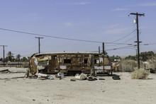 Torn Trailer In Salton Sea, California