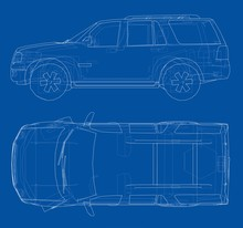 Car SUV Drawing Outline. Vector