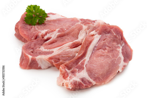 Poster Vlees Meat pork slices isolated on the white background.