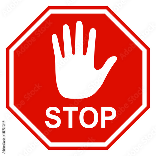 Photo  Stop sign icon with hand - vector