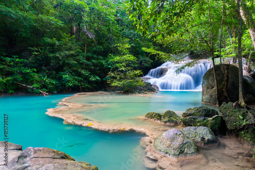 Poster Gris The beauty of limestone waterfall is popular with tourists. And famous of Thailand. In Erawan Waterfall National Park Kanchanaburi