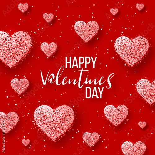 Saint valentine day background with colorful hearts with frame Poster Mural XXL
