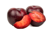 Red Plum With Slice