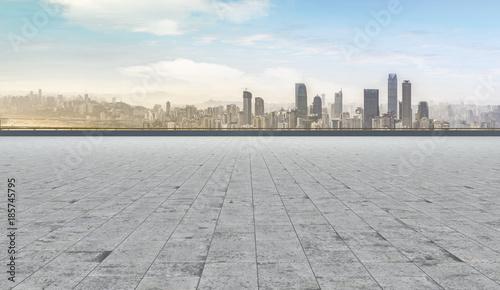 Photo Road pavement and city skyline