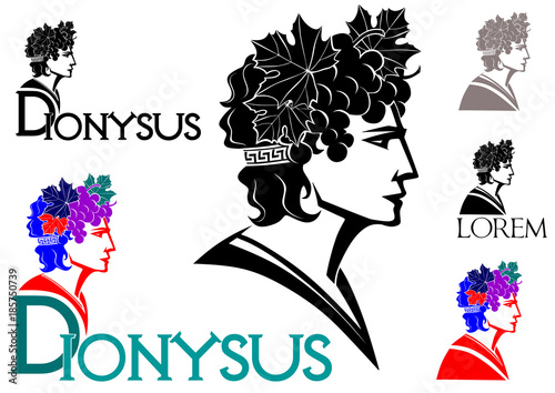 Dionysus - God of wine logo(with grapes and leaves in her hair) Canvas Print