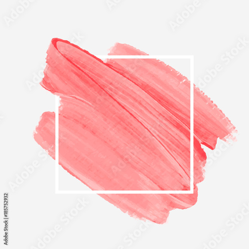 Logo brush painted watercolor abstract background design illustration vector over square frame Fototapet