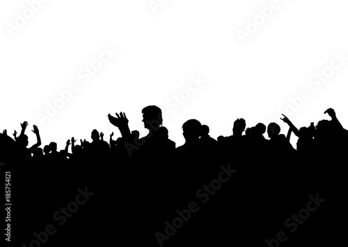 Crowd of spectators at a concert on a white background Canvas
