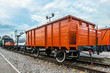Freight car of the railway. An old wagon for the carriage of goods. Railway car of wood.