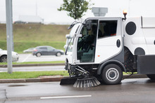 A Street Sweeper Machine Clean...