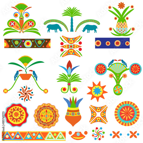 Set of abstract colored traditional Egyptian and African