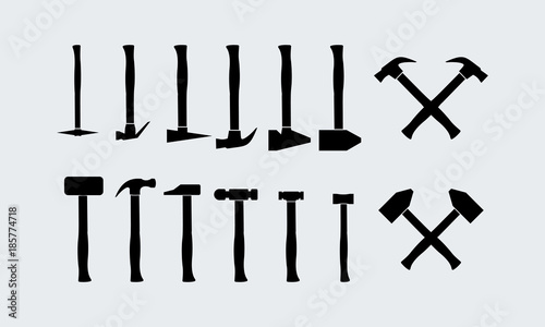 Set of Different Hammer Silhouette vector Wallpaper Mural