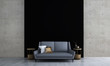 Leinwanddruck Bild - 3D rendering inteiror design of minimal living room and black texture and concrete wall background