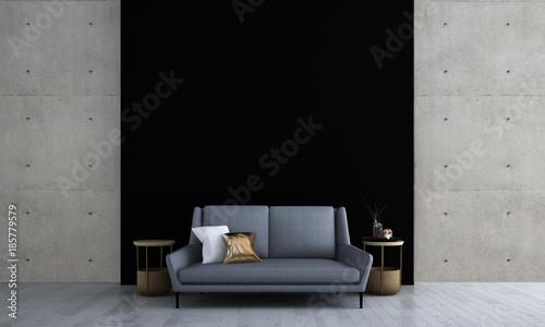 Fényképezés  3D rendering inteiror design of minimal living room and black texture and concre
