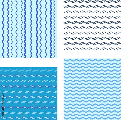 Set Pattern On White Background Blue Light And Dark Wave