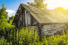 Old Abandoned Wooden Hut, Over...