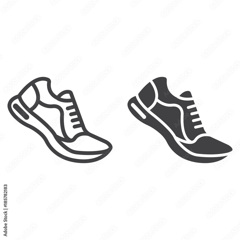 Fototapeta Running shoes line and glyph icon, fitness and sport, gym sign vector graphics, a linear pattern on a white background, eps 10.