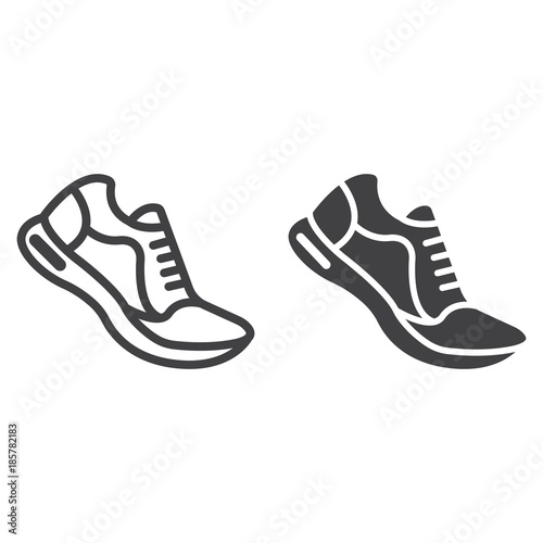 Running shoes line and glyph icon, fitness and sport, gym sign vector graphics, a linear pattern on a white background, eps 10 Canvas Print