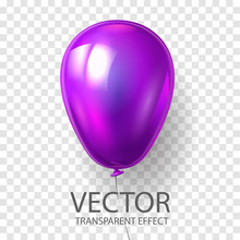 Realistic 3D Render Purple Balloon Vector  Illustration Isolated On Transparent Background. Glossy Shine Helium Balloon In Violet Color For Birthday Celebration, Party, Grand Opening, Sale Promotion