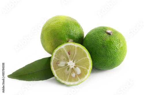 Láminas  citrus sudachi on a white background