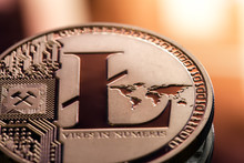 Coin Litecoin Closeup On A Bea...