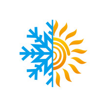 Hot And Cold Symbol. Sun And Snowflake All Season Concept Logo.