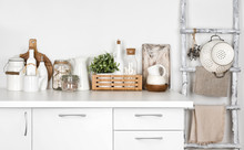 White Kitchen Bench And Vintag...