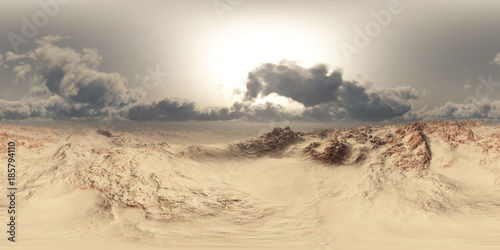 Foto auf Gartenposter Wuste Sandig panorama of desert at sand storm. made with the one 360 degree lense camera without any seams. ready for virtual reality