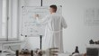 Young scientist in coat writing a marker mathematical formulas on white board