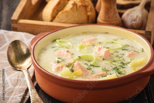 Potato soup with salmon and leek.