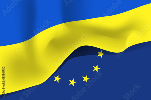 Ukrainian National Waving Flag Symbol Of Ukraine On European Union