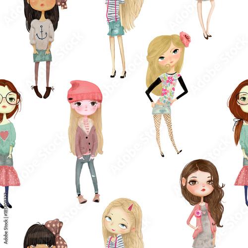 wzor-z-dziewczynami-kreskowki