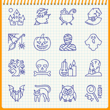 Halloween Line Icon Set Hand D...