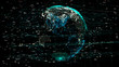 canvas print picture - 3D animation of planet Earth rotating in the global futuristic cyber-network with connection lines around the globe. The neural artificial grid represents data and cryptocurrency exchange in business