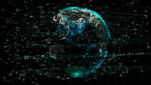 3D Animation Of Planet Earth Rotating In The Global Futuristic Cyber-network With Connection Lines Around The Globe. The Neural Artificial Grid Represents Data And Cryptocurrency Exchange In Business