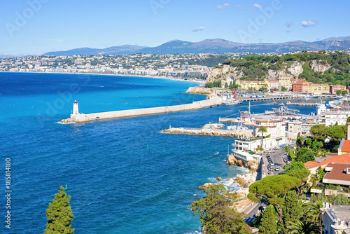 Daylight view to beachline and blue sea of Antibes, France Canvas Print