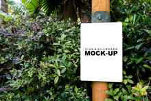 The Mock Up Blank White Screen Banner On Wooden Pole