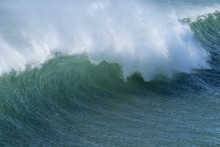 Blue Green Wave Curl Off Shore Winds