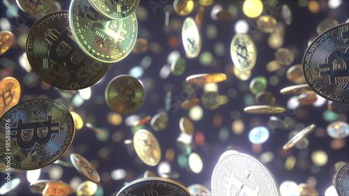 Fotografía  Multiple falling bitcoin tokens. 3D rendering