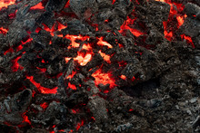 Lava Flame On Black Ash Backgr...