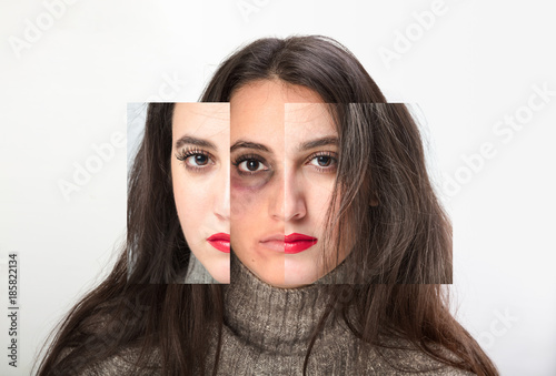 Beautiful woman subjected to domestic violence Poster
