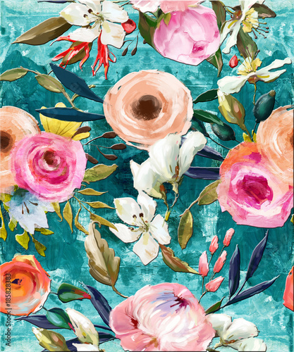 Cuadros en Lienzo oil painted seamless floral pattern