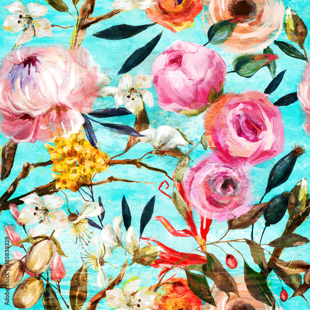 oil painted seamless floral pattern