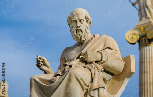 Obraz Statue of the great philosopher of ancient Greece Plato, on the background of a marble column. - fototapety do salonu