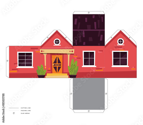 Make your own house cute 3d paper craft vector print - Buy 3d printed house ...
