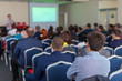 The image of a conference in a conference hall
