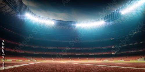 stadium with track, night view with illumination Canvas Print