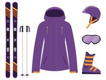 Skiing Equipment, Set. Skis, Ski Poles, Helmet, Glasses, Boots, Jacket. Winter Equipment Icons. Vector Illustration In Flat Style.
